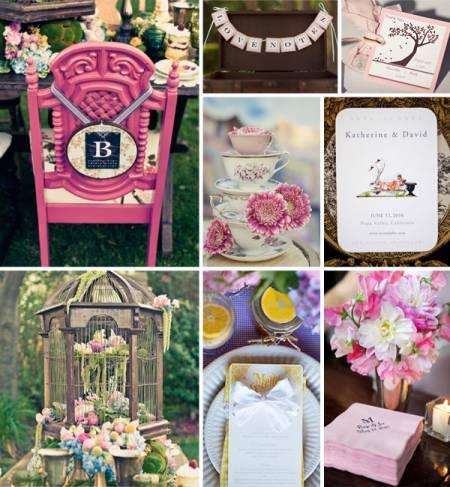 Ну и какая же необычная свадьба обходится без розового цвета? Можно добовить розовых свадебных аксессуаров к косюму жениха (бабочка, бутоньерка) и к платью