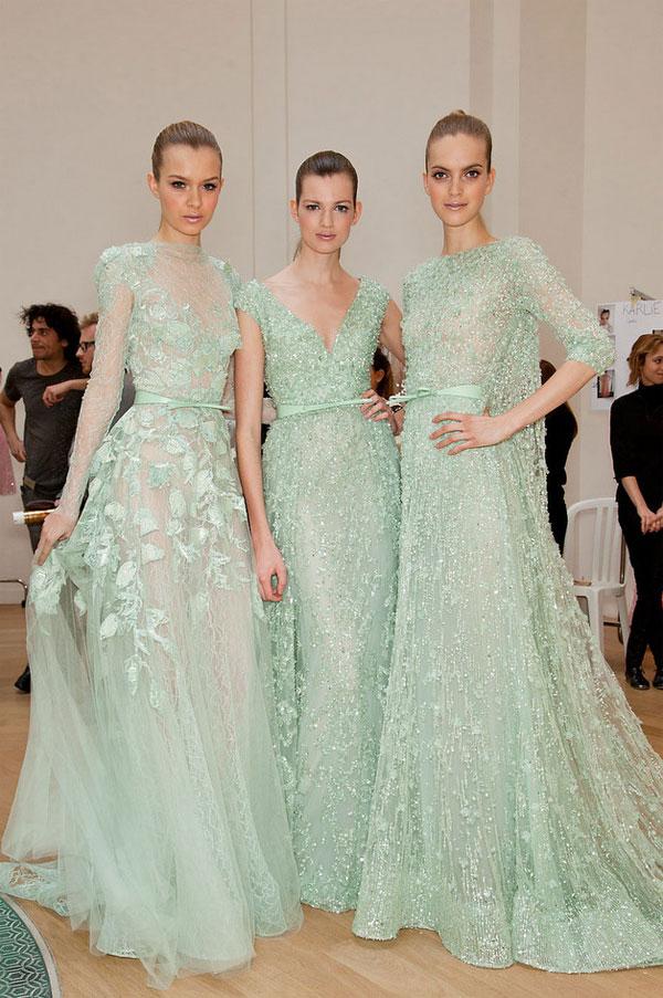 Свадебные платья мятно-зеленого цвета - дизайнер Эли сааб