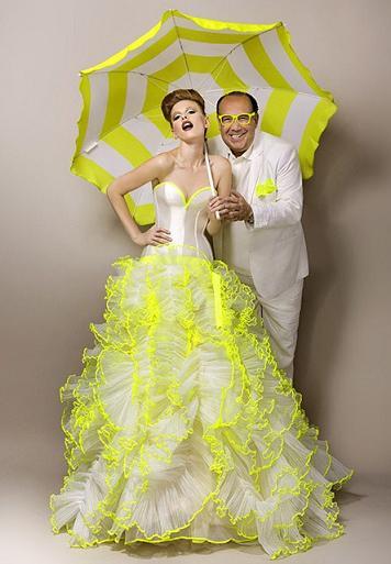 Желтое свадебное платье - дизайнер Макс Чаул